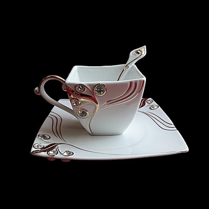 Чайная пара со стразами - квадратная