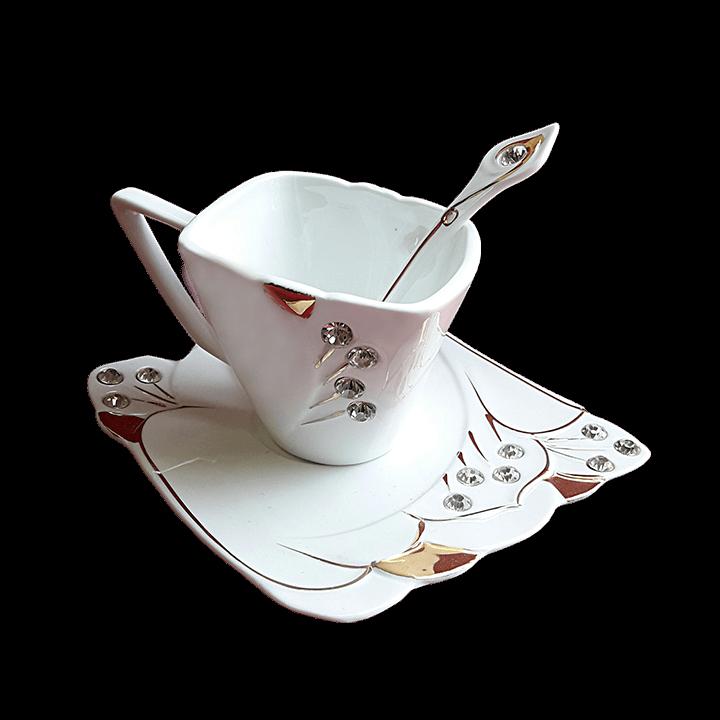 Чайная пара со стразами - закругленная